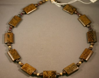 Handmade BRONZITE and GARNET Necklace with Gold Filled Clasp