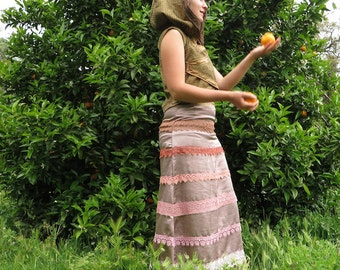 forest PRINCESS long SKIRT : unique in pastel tones and ribbons for special occasions. noble and renaissance light touch to it.