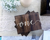 Wedding Double Sided Table Numbers, Script, Cursive Wooden Table Numbers, Rustic, Wood Table Numbers, Calligraphy Table Numbers