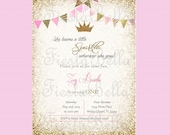 Princess crown birthday invitation, pink, gold, glittter, bunting. Printable, DIY. She leaves a little sparkle wherever she goes. Girly.