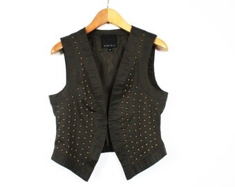 Green Women Vest Grunge Waistcoat Jeans Gold Spikes Military Style Darg Vintage / Medium Large