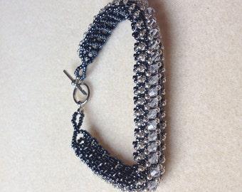 Beaded Swarovski Crystal Bracelet-Steel Grey-8 in.