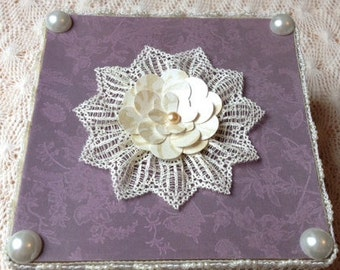 Hand Decorated Gift Box-Purple/Cream Lace-6 in.