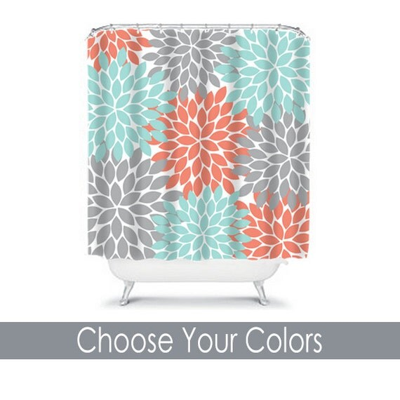 28+ [ Gray And Coral Bathroom ] | Coral Aqua Gray Shower Curtain ...