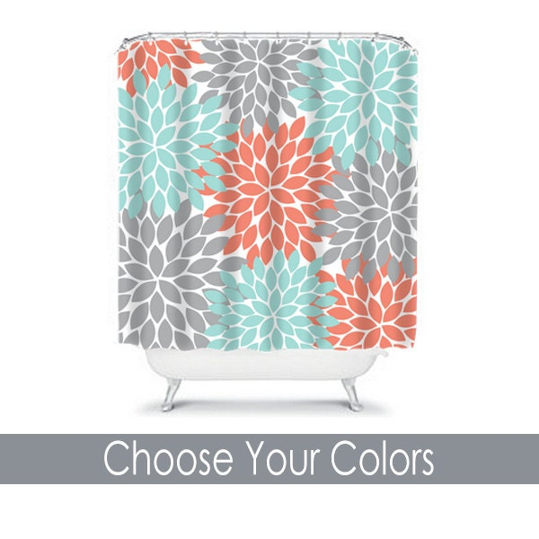 Coral Aqua Gray SHOWER CURTAIN Flowers Custom By TRMDesignShop
