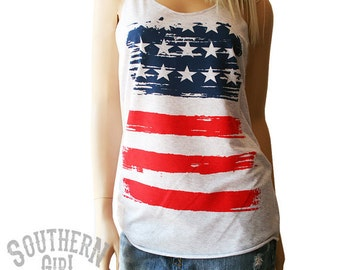 American Flag Tank. Red White & Blue Tank.  Patriotic Tank. Patriotic Clothing. Southern Girl Tank. Country Clothing.