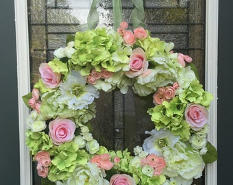 Blush Pink Rose & Hydrangea Wreath,Peony Wreath,Ranunculus Wreath,Blush Pink Wedding Decoration,Pink and Green Wreath,Shabby Chic Decoration