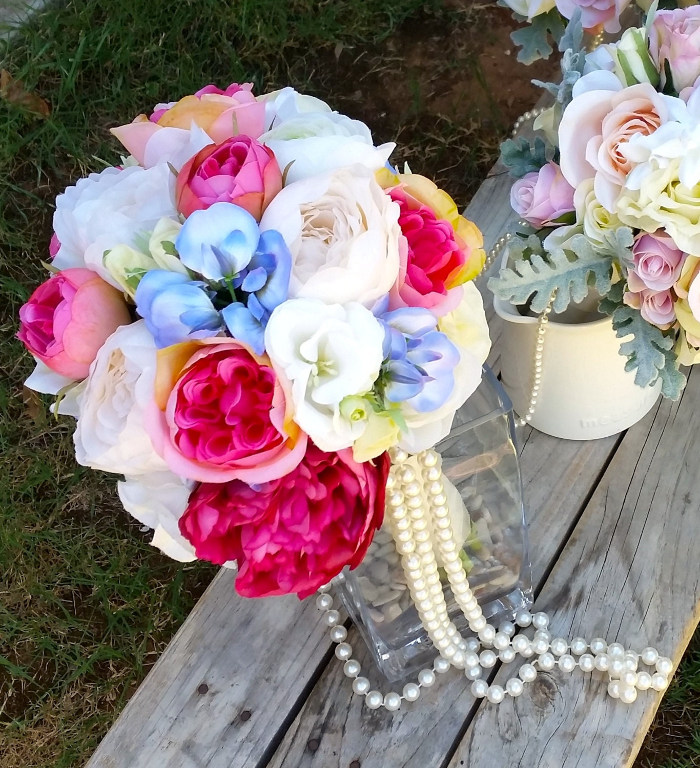 Pink Blue And White Wedding Bouquets : Pink blue and white wedding bridal bouquet with silk roses