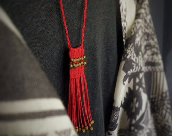 Woven Boho necklace, Red Fringe necklace, Hippie, Waxed cord and Hematite necklace, Semiprecious stones, Fiber art jewelry