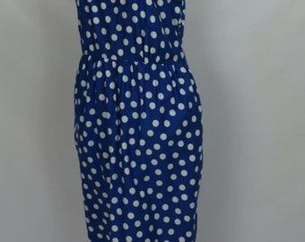 1980s Does 1940s MS Chaus Blue and White Polka Dot Wiggle Dress, 1980s dress, 1940s dress, Pinup Dress, wiggle dress, Polka Dot Dress, Dress