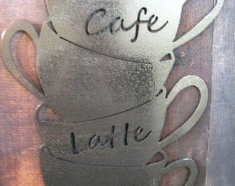 Stacked Coffee Cups Metal Art,hammered black finish, cafe sign, mothers day gift, gift for mom, coffee home decor, kitchen decor