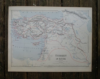 1880 - Turkey in Asia Map - Extra Large Antique Map - Beautiful Old Map of Turkey in Asia - Large Vintage Map
