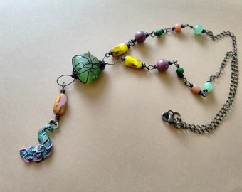Rustic Boho Peacock Necklace, Colorful Bohemian Jewelry, Glass & Gemstone Beaded Assemblage Necklace, Handmade, Artisan, Gypsy, Free Spirit