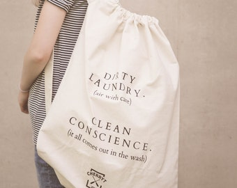 Summer Laundry Bag. Extra Large Eco Canvas Camp + College Laundry Bag. Natural cotton. Made in Canada. Great Christmas Gift!