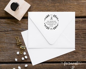 Family Address Stamp, Monogram Address Stamp, Calligraphy Return Address Stamp, Address Stamp, Personalized Stamp, Wreath Address Stamp