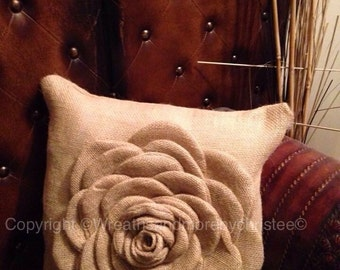 Burlap flower pillow 16x16