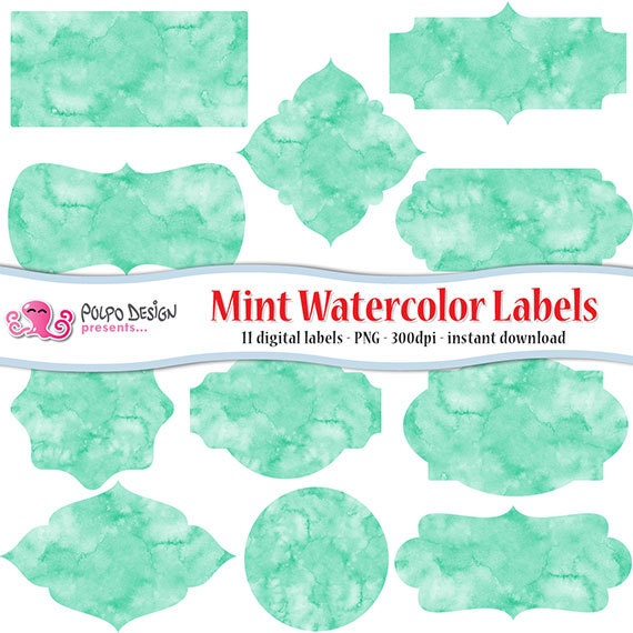 mint watercolor labels clip art watercolor frames digital clipart commercial personal use instant download frame label tag green aqua - Mint Picture Frames