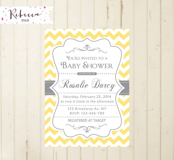 yellow baby shower yellow and gray chevron baby shower invite