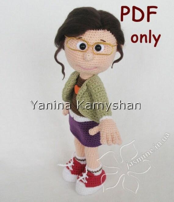 Amigurumi Glasses : Girl in glasses, crochet doll, amigurumi, pdf