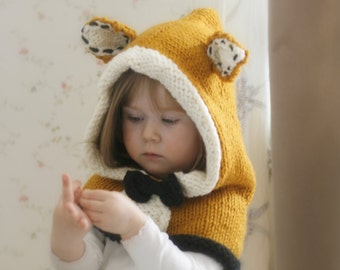 KNITTING PATTERN fox hood Roxy knitted flat (baby, toddler, child sizes)