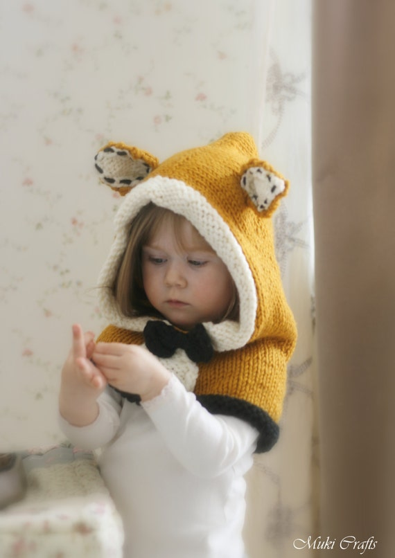 KNITTING PATTERN fox hood Roxy knitted flat (baby, toddler, child,  adult sizes)