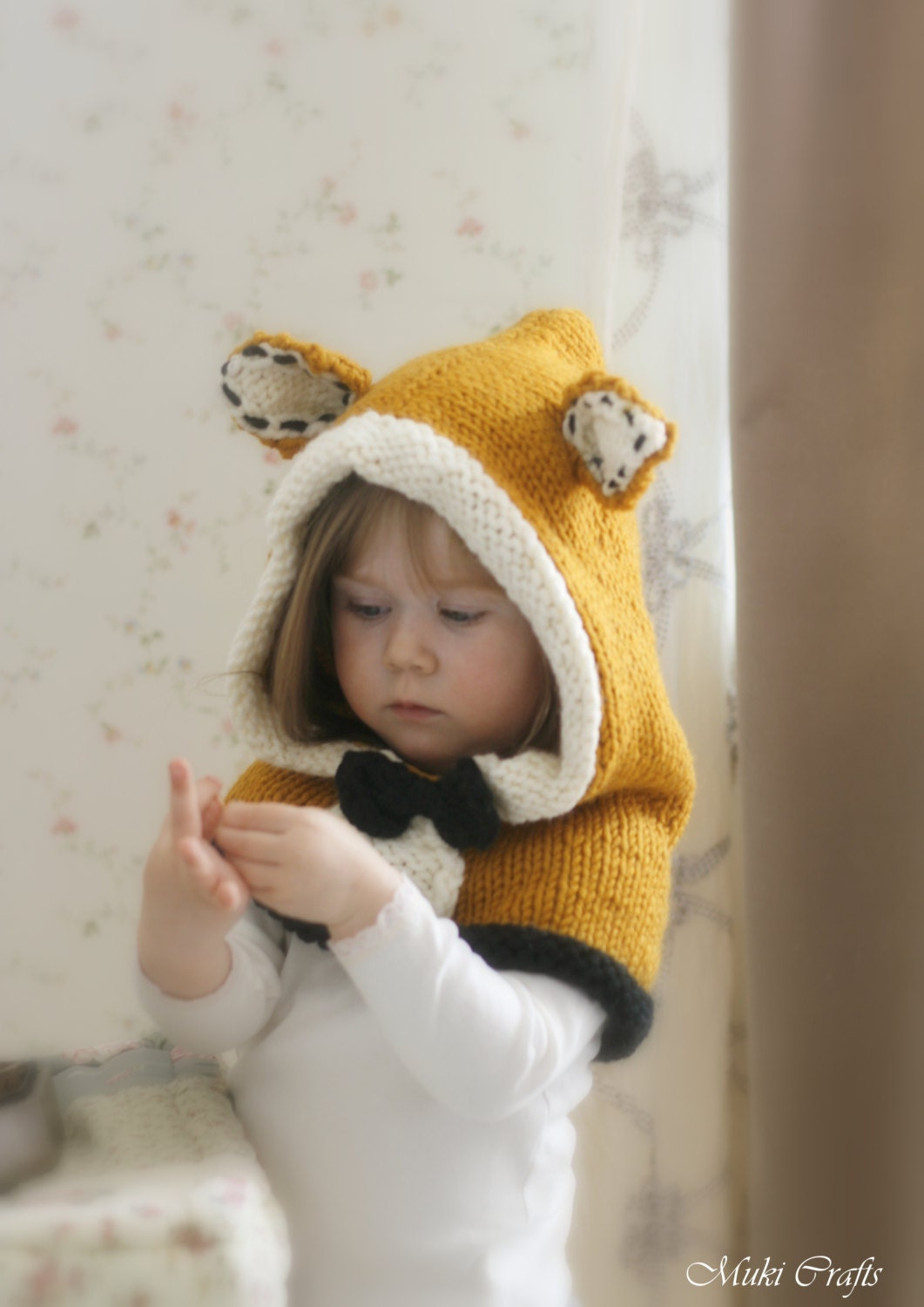 Knitting Pattern Fox Hood : KNITTING PATTERN fox hood Roxy knitted flat baby toddler
