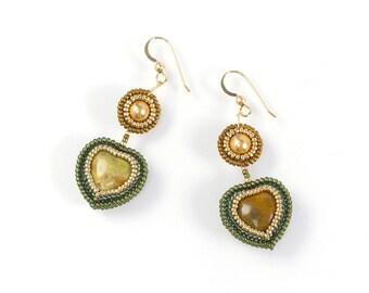 Beaded heart earrings, bohemian earrings, green boho earrings, green heart earrings, olive earrings, 1402, ChikaBeadwork