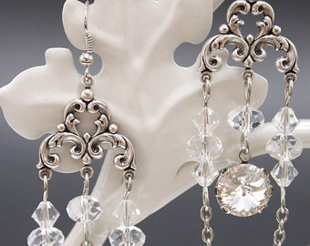 Crystal Chandelier Gothic earrings - silver plated filigrees and Swarovski crystals - Victorian Gothic Jewelry
