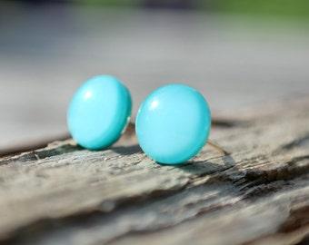 Light blue glass stud earrings, post earrings, tiny studs, tiny earrings, Hypoallergenic Studs, mint blue studs
