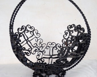 Mid Century SPANISH Wrought Iron BASKET Home Decor Medieval Dungeon Chic