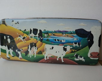 Country Farm Tin Dairy Cows Pastoral Scene J Luber Rectangle Tin Container for Storage or Farm House Kitchen Country Home Decor