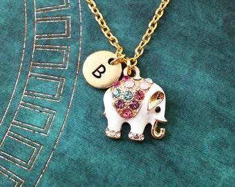 Elephant Necklace SMALL Jeweled Elephant Jewelry Personalized White Elephant Gift Crystal Elephant Pendant Indian Elephant Charm Necklace