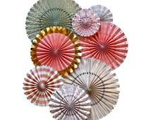 Party Fans | Pom Wheel | Rosettes | Paper Medallions | TRP008 Mint, Pink & Gold Fans | Paper Pinwheel