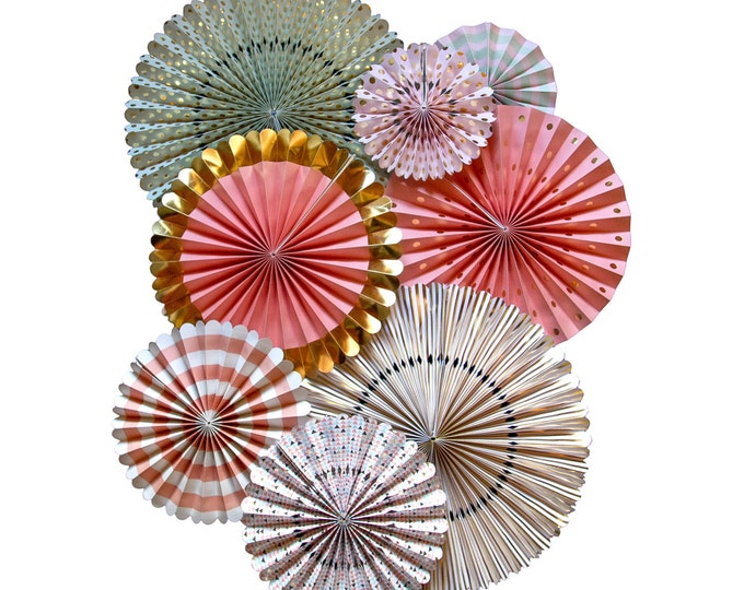 Party Fans Pink and Mint, Pom Wheel, Rosettes Pink Paper Medallions, Mint, Pink, and Gold Fans, Paper Pinwheel