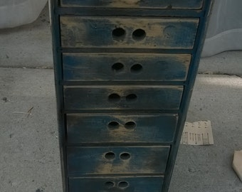 Vintage industrial eight drawer wood cabinet