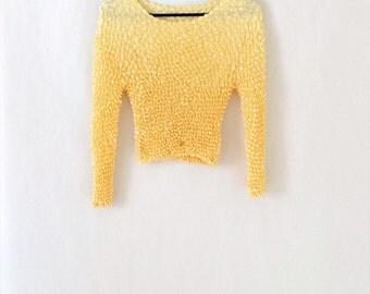 90s yellow pop corn top long sleeves unique size