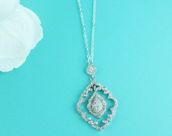 CZ Chandelier Necklace, cubic zirconia pendant necklace, wedding jewelry, bridal jewelry, Joslyn Art Deco Necklace