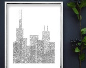 Chicago Glitter Skyline Printable, Chicago Modern City Print, Silver Glitter Skyline Printable, Sparkle Glitter Wall Art, Glitter Printable