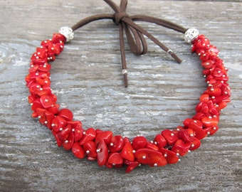 Red coral necklace Coral choker Leather necklace Cluster necklace Red necklace Coral jewelry Boho Bohemian jewelry Unusual gifts for women