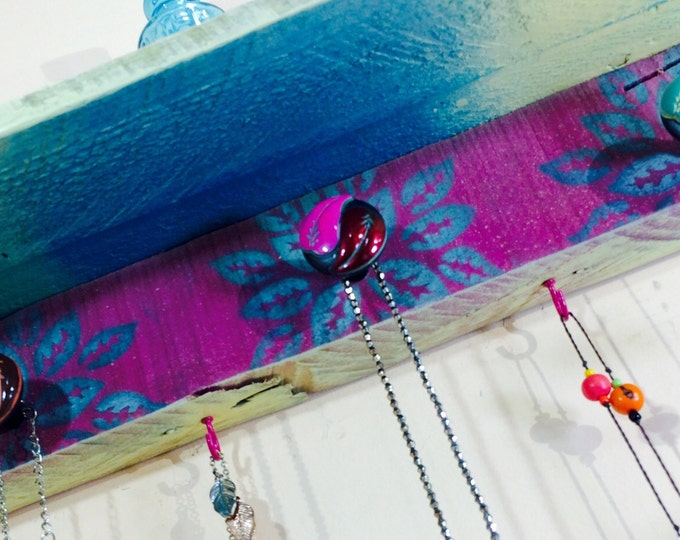 Floating shelves/ hanging shelf /reclaimed wood art /pallet wood decor /accent shelving Necklace holder wall organizer 3 knobs 4 pink hooks