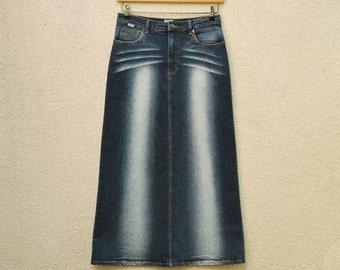 Vintage Blue Denim Maxi Skirt High Waisted Long Pencil Skirt Medium Size