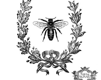 Vintage French Bee temporary tattoo, Vintage Bee, Bee and french wreath temp tattoo, Body Art, WickedlyLovely Skin art, choose your size