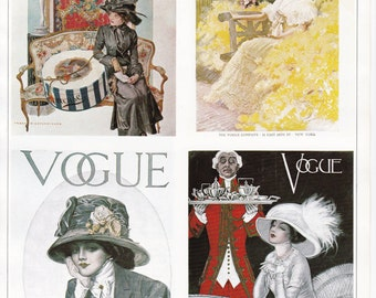 Vogue Magazine Cover hats millinery art deco art nouveau home decor print fine art fashion vintage 8.5 x 11.5 inches