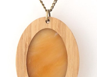 Opaque Earthy Glass in Wooden Oval Pendant on chain