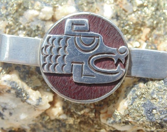 Cheo ~ Mexican Sterling Silver and Rosewood Dragon / Serpant Head Tie Clip