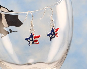 Patriotic earrings, fourth of July earrings, 4th of July earrings, US flag charm, stars & stripes jewelry