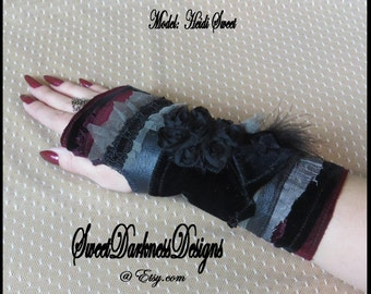 Gothic Wrist Corset BLACK LEATHER Feathers Lace Velvet Fingerless Glove