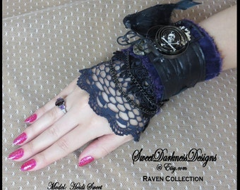 Gothic Cuff 3D RAVEN Raven Cage Black Leather Velvet Lace