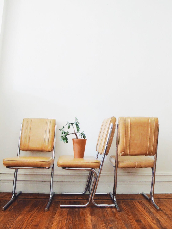 Vintage Kitchen Chair Set Retro Tan And Chrome Chairs