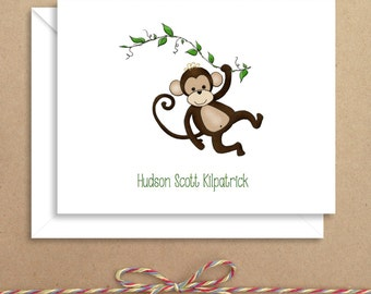 Monkey Note Cards - Animal Note Cards - Folded Note Cards - Personalized Children's Stationery - Thank You Notes - Illustrated Note Cards